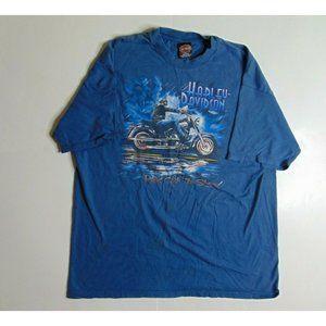 90s Harley Davidson Men 2XL Graphic T-Shirt Blue